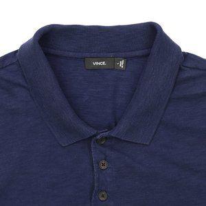 Vince Cotton & Linen Blend Polo Shirt Navy Blue